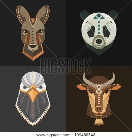 Vector set of animal portraits made in geometrical flat style. Vector heads of kangaroo, panda, cow, bald eagle isolated. Flat  icons for your design.