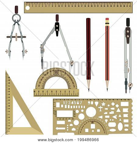 Vector set of drawing tools compasses, protractor, pencils, rulers isolated on white background. Flat style design.