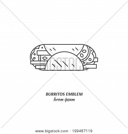 Vector logo mexican traditional food of a burrito made in flat line style. Perfect modern label for a cafe, restaurant , menu.