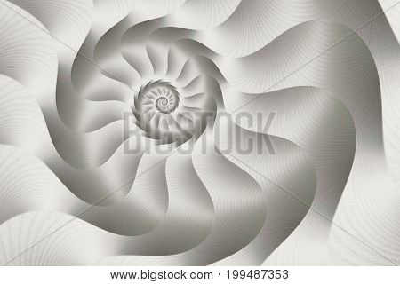 Silver and white spiral metallic effect abstract of curves and lines