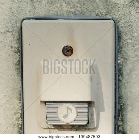 Eletronic Old Doorbell Chime or Home Buzzer on The Wall Ringing or Buzzing Signal When Pushed.
