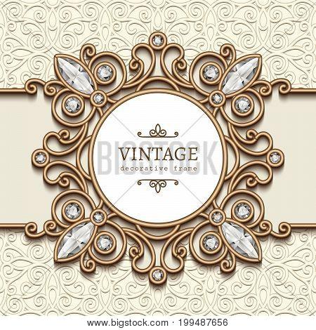 Vintage gold background, label, diamond jewelry vignette, ornamental swirly frame