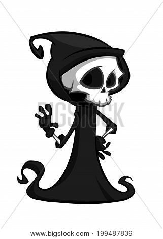 Vector illustration of cartoon death Halloween monster mascot isolated on dark background. Cute cartoon grim reaper