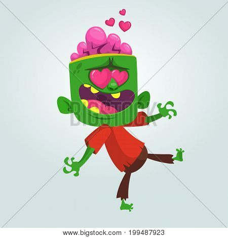 Cartoon zombie in love. Halloween vector illustration of walking zombie in red t-shire and brown pants