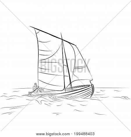 Traveling line-art poster with sailboat on waves. Concept for tourism trip travel agencyrecreation card hotels. Vector illustration