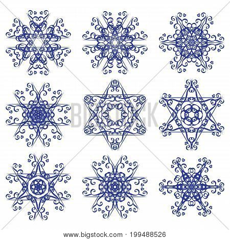 Calligraphic round ornament collection. Collection of hand drawn ornamental circle design elements. Set for design birthday holiday kaleidoscope medallion yoga bohemian snowflake