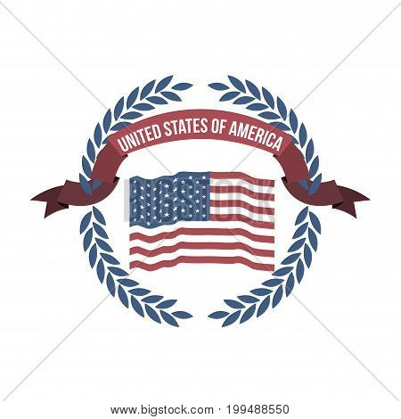 white background of opaque color flag united states of america with arch of leaves and label tape vector illustration