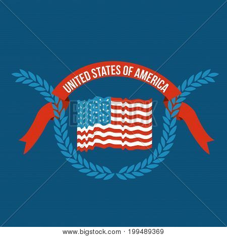 blue background of colorful flag united states of america with half crown of olive branches and label tape intertwined vector illustration
