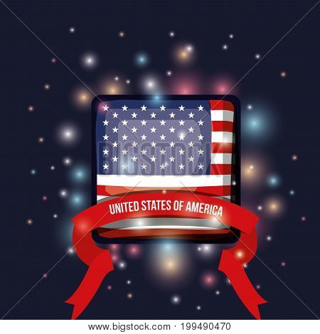 color dark blue background with brightness of square shape flag united states of america with label tape vector illustration