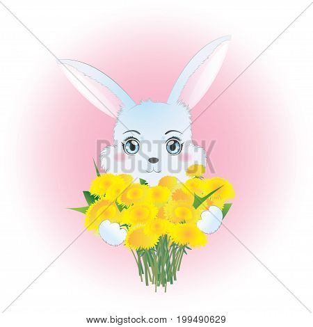 Vector illustration with a cute bunny which holds a bouquet of dandelions.