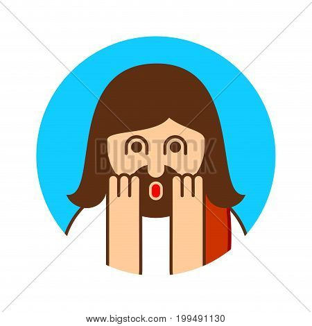 Oh My God Jesus Emotion. Omg Christos Emoji. Exclamation Is Shocked. Surprised With News Sticker. Re