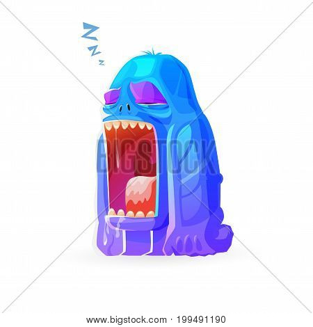 cartoon cute monster dozing off. isolated on white vector background
