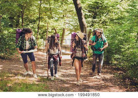 Four Excited Tourists Are Walking In Autumn Forest, Talking And Enjoying, Wearing Comfortable Outfit
