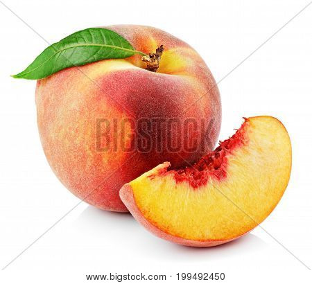 Peach With Slice And Leaf Isolated On White