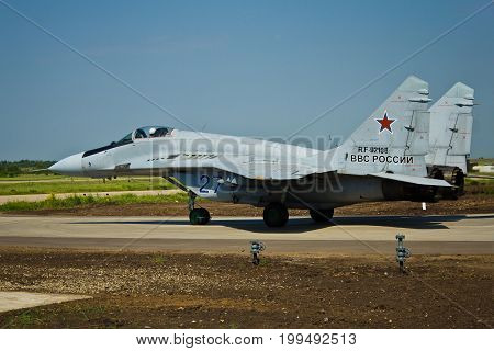 VORONEZH, RUSSIA - MAY 25, 2014: Russian military aircraft Mig-29 (RF-92108) in the airfield Baltimore
