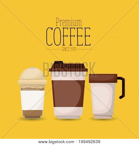 color poster with set glass disposable for hot drinks of premium coffee since 1970 vector illustration