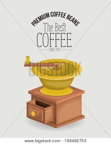 white poster of premium coffee beans of the best coffee since 1970 with coffee grinding with crank vector illustration poster