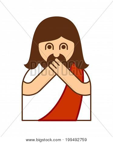 Omg Christos Emoji. Oh My God Jesus Emotion. Exclamation Is Shocked. Surprised With News Sticker. Re