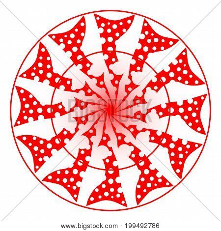 A simple red mandala style background isolated on white