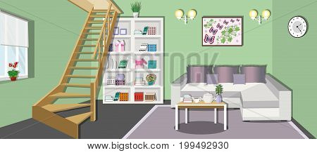 Modern cozy living room interior design with stylish furniture - bookcase, sofa, table and stairs to the second floor. Flat style vector illustration.