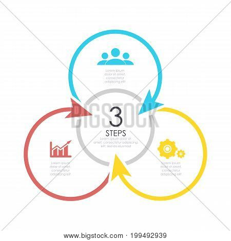 Outline round infographic element. Circle template 3 steps with arrows.