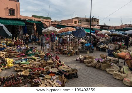 Marrakech, Morocco - May 3, 2017: Craft market Riad Rahba in medina of Marrakesh