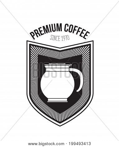 white background of premium coffee since 1970 with decorative logo shield of glass jar with handle vector illustration