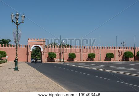 Marrakesh, Morocco - May 3, 2017: Gate in old city walls Marrakech medina Morocco