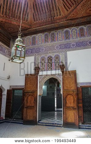 Marrakesh, Morocco - May 3, 2017: Details of interior of El Bahia palace Marrakech Morocco