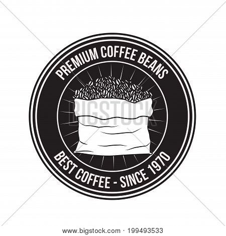 white background of logo design of circular frame premium coffee beans of best coffee since 1970 with bag full beans vector illustration