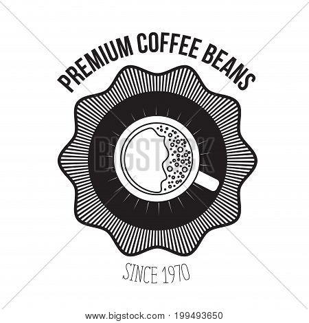 white background of logo design of emblem decorative premium coffee beans since 1970 with top view cup coffee with foam vector illustration