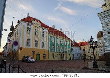 Tallinn, Estonia - june 18, 2011: Lossi Plats Square near Alexander Nevsky Cathedral with Dome Church on background Tallinn Estonia