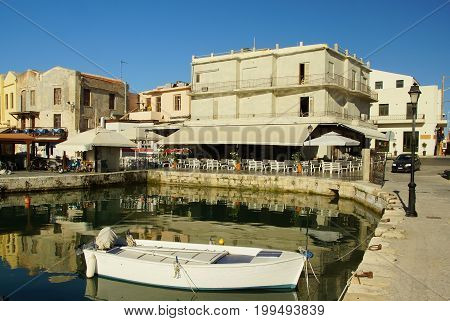 Sunny and summer morning in the port of the old city Rethymnon Greece