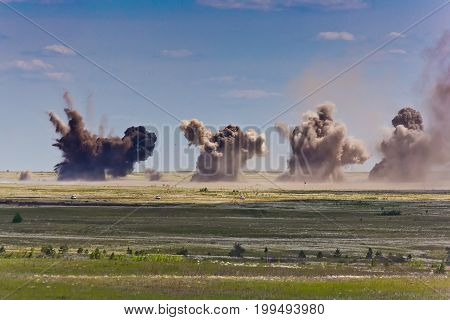 Explosion at a military training ground. Destruction of training objectives by aircraft bombs