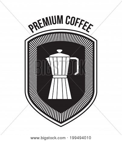 white background of text premium coffee and logo design of decorative shield with silhouette metallic jar of coffee with handle vector illustration