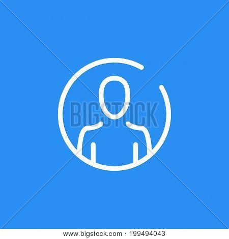 Vector account icon. User profile. Thin line design. Round line icon