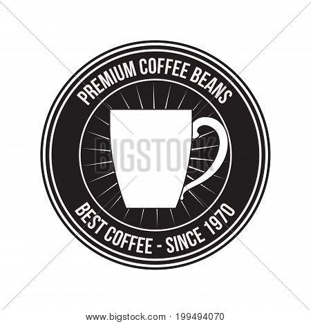 white background of logo design of decorative circular frame with silhouette mug premium coffee beans of best coffee since 1970 vector illustration