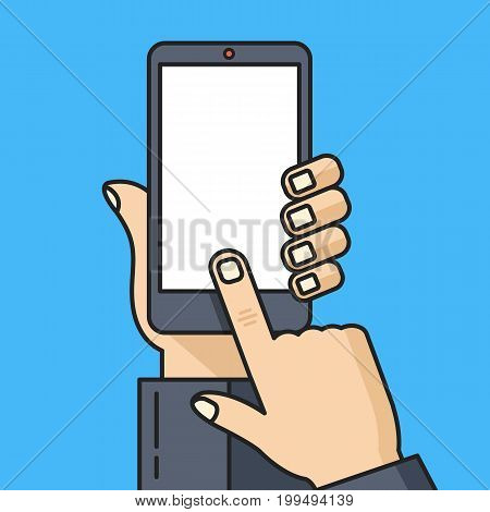 Smartphone with blank white screen. Human hand holding smartphone, finger touching screen. Cellphone with white display, black smart phone template modern concept. Thin line design vector illustration
