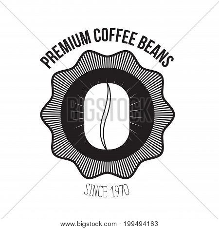 white background of logo design of emblem decorative premium coffee beans since 1970 with grain of coffee vector illustration