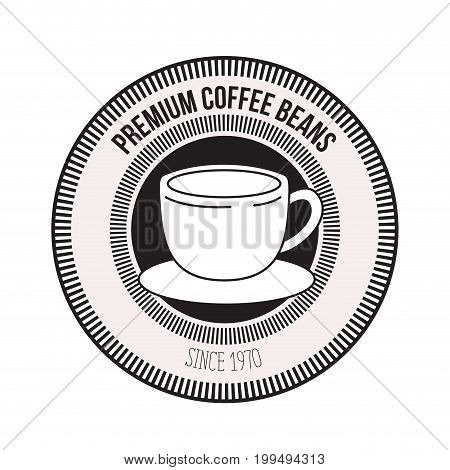 white background of logo design of decorative circular frame with silhouette cup on dish premium coffee beans since 1970 vector illustration