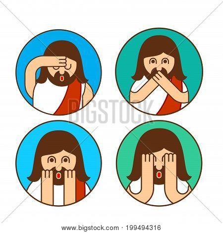 Oh My God Jesus Emotion Set. Omg Christos Emoji. Exclamation Is Shocked. Surprised With News Sticker