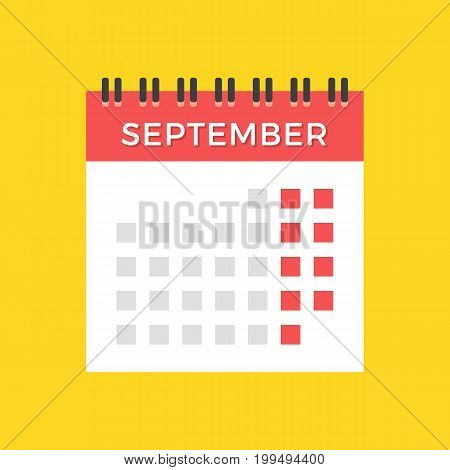 September 2017 calendar. Modern flat design graphic elements. September calendar icon isolated on yellow background. Appointment, events, schedule. Vector icon