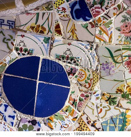 tile decoration broken glass mosaic, Barcelona, Spain.
