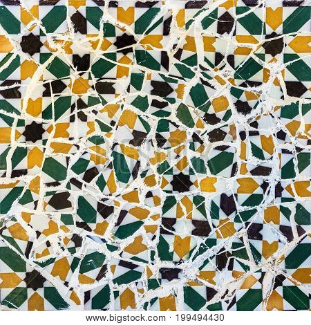 Broken glass mosaic tile decoration in Barcelona, Spain.