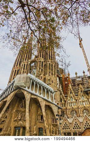 BARCELONA, SPAIN - JUNE 30, 2017: Sagrada Familia Church, Gaudi