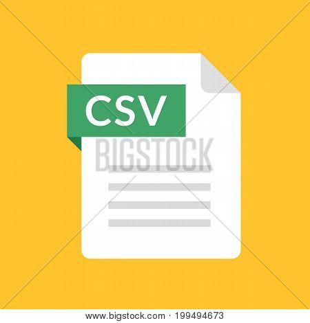 CSV file icon. Comma-separated values document type. Flat design graphic illustration. Vector CSV icon