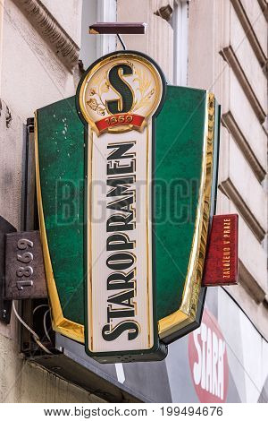 Prague, Czech Republic - August 13. 2017: Trade sign of pothouse, Prague, Czech Republic. Beer brand symbol beer bar Staropramen trademark