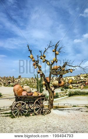 Cart with ceramic jugs in Cappadocia, Turkey