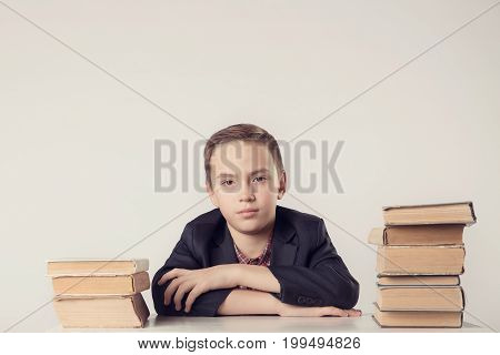Book, School, Kid. Little Student Holding Books. Funny Crazy Boy With Books.