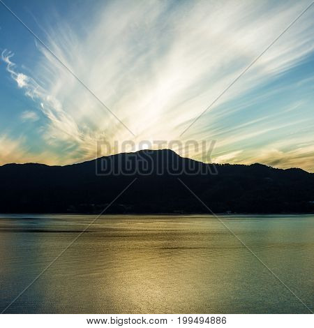 Norway, Geiranger sunset view, Norwegian fjords landscape
